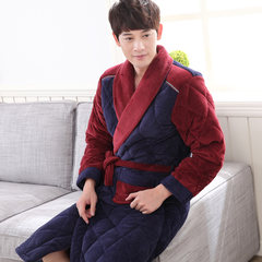Male winter long robe thickened bathrobe young men with velvet warm winter coral velvet cotton Mens Nightgown clip 185 (XXXL) Three hundred and seven