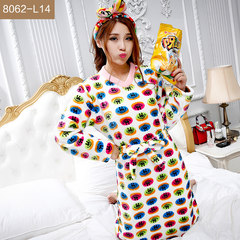 Female winter pajamas cute coral fleece bathrobe Nightgown flannel Nightgown thick lengthen women's clothing Home Furnishing set M 8062-L14