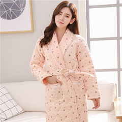Shipping winter cotton padded robe gown Home Furnishing thickened female pure cotton padded jacket lady XL warm bathrobe Nightgown M (thickening warmth, pure cotton fabric) Light yellow