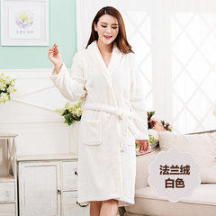 Winter new bathrobe Nightgown lady warm coral velvet dress lengthened and thickened couple sleeping male flannel bathrobe F [flannel] female white