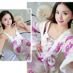 Korean female winter Coral Fleece Pajamas nightdress thick flannel gown two piece long sleeved robe Home Furnishing autumn clothes L code [suggestion 100-120 Jin] Two pieces of Bauhinia