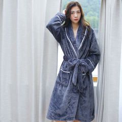Autumn and winter flannel bathrobe female couple coral velvet robe thickened in the long section of female female man Home Furnishing wear pajamas S/M (less than 130 Jin) Charcoal grey (female)