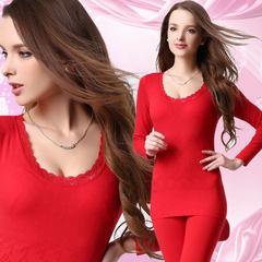 Special offer every day youth long johns Ms. cotton thin tight students modal thermal underwear sets F Atmospheric red