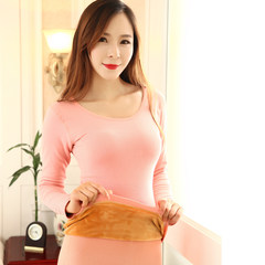The winter thermal underwear with thickened slim lady cashmere cotton long johns student body tight backing suit Elasticity super good about 80-100 catties 1807 Pink