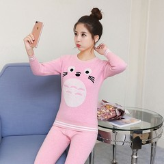 The young girl's winter cotton cashmere thermal underwear sets with high school students can wear cotton sweater 4XL recommends height 168-175 Totoro - Pink