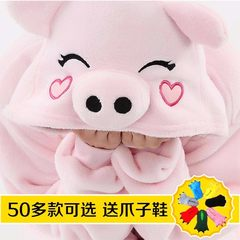 Flannel pink pig pyjamas for women adult cartoon animal black pig autumn/winter men`s long-sleeved lovers coral velvet 130 (height 125-135cm) shoes dark green