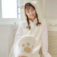 Coral Fleece Pajamas female Siamese cat ears in autumn and winter clothing dress cute cat claw Home Furnishing girl meow star who turned. Size is too high to buy Powder meow ~!