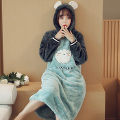 Cute Korean female winter flannel Nightgown Pajamas female dress hat fresh students even in autumn and winter in coral fleece M 9211# sale 5 days dispatch shot