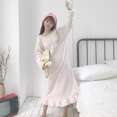 Cute Korean winter flannel Ruffle Dress thickening sleeve pajamas nightdress Home Furnishing ladies suit students F light pink