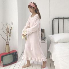New winter sweet Korean flannel long pajamas nightdress thickened flounce dress female students F Light pink