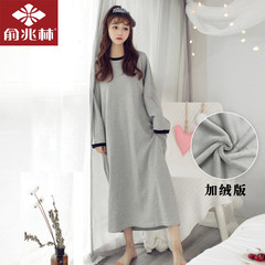 Ms. Yu Zhaolin in autumn and winter princess sleeve pajamas cotton coral velvet skirt a Korean clothing Home Furnishing relaxed sleep 160 (M) Black collar grey skirt (thickened coral velvet)