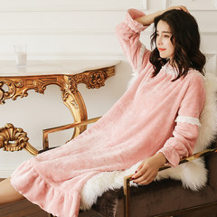 Long sleeved winter flannel pajamas sexy autumn sweet Coral Fleece Winter Dress Korean female Nightgown 15 days no reason to return Shallow red bean