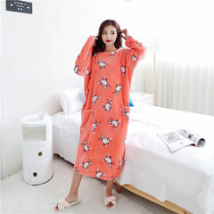 Female winter coral fleece flannel Nightgown nightdress nightgown with 200 pounds of fertilizer increased loose in the long skirt of pregnant women F Orange