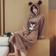Coral Fleece Pajamas female hooded flannel Nightgown thick winter, female long cute cartoon Home Furnishing student service 160 (M) Dark brown