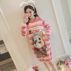 Autumn and winter female Nightgown coral fleece XL long cute flannel warm pajamas clothing Home Furnishing Korean Students XXL code (135-150 Jin) New big rabbit (gift collection)