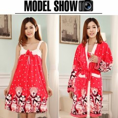 Korean female winter Coral Fleece Pajamas nightdress thick flannel gown two piece long sleeved robe Home Furnishing autumn clothes XL code [suggestion 120-135 Jin] Flannel 913# bear two set