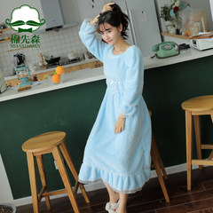 Korean female Sweet Princess Dress flannel pajamas long thick winter lady Home Furnishing coral fleece clothing M Blue Lace Skirt