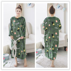 Korean female coral fleece Nightgown in autumn and winter long cartoon thick flannel pajamas female long sleeved clothing Home Furnishing Hint: each style has pockets Blackish green