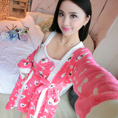 Autumn and winter spring clothing Home Furnishing coral cow pajamas bathrobe flannel Nightgown thickened two piece female dress L code (weight 100-115 Jin) Love dog red