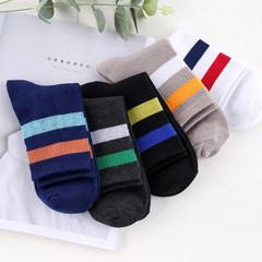 Socks, men's hose socks, pure cotton deodorant, autumn winter socks, cotton thick waist socks, four seasons sports socks F In 5 pairs of male striped stockings
