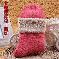 Winter socks socks thick wool socks and cashmere socks warm cotton towel socks in winter of super thick cashmere socks F Female (super) thick reverse border (Yu Hong)