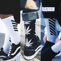 From men's high Bangchang cotton socks and barrel skateboard Korean fashion Japanese Harajuku trend in tube socks F 3 pairs of high street combination