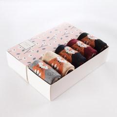 Rabbit wool socks, men's thickening warm socks, winter gift boxes, medium length towels, men's socks, cotton pure color tide F The girl / the fox Fairy