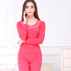 Female underwear thin neck long johns suit body slim lady backing students cotton sweaters in winter The collection and send the shopping cart to buy socks Crown watermelon red