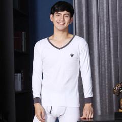 Nanjiren V collar cotton long johns suit young male cotton sweater 'thin backing underwear XXXL white