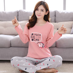 Leisure pure cotton pajamas female autumn and winter thin long sleeve pants, cartoon cotton ladies spring and autumn home wear set M Female long sleeved suit: white fish powder