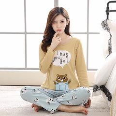 春秋季女士睡衣长袖长裤纯棉两件套装韩版学生卡通薄款全棉家居服 S码 黄色