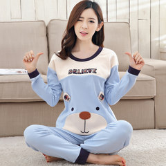 In the spring and Autumn period, women's pajamas, long sleeve pants, pure cotton two sets, Korean students cartoon thin cotton household clothing S code Sky blue