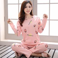 春秋季女士睡衣长袖长裤纯棉两件套装韩版学生卡通薄款全棉家居服 S码 长袖套装:粉色草莓