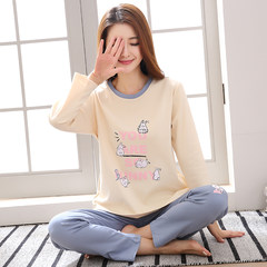 Every day special pajamas female autumn style cotton long sleeve Han version cute cartoon cotton girls home suit set big yards Female --XXL code (130~150 Jin) Warm grey