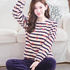 Autumn and winter Korean style thickening coral velvet pajamas, women's long sleeves, lovely cartoon large size flannel home suit It is only 33.8 yuan to lose money under the collar roll Purple love stripe