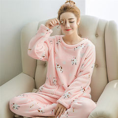 Autumn and winter cute Korean coral velvet pajamas, women's flannel, big round collar, long sleeve suit L code Lovely cow