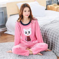 The flannel pajamas are sweet and lovely. The Korean version of the thickened coral velvet home suit can be worn out by long sleeves M (150-158 cm) collection priority shipment violet