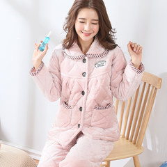 Winter cotton pajamas big size three layer thickening flannel cartoon sweet coral fleece warm home suit set XL [115~135 Jin] three layer thickening 508# pure color champagne rice
