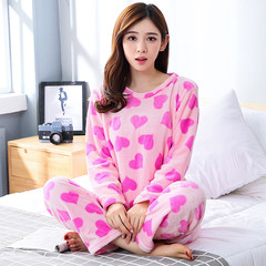 Autumn and winter coral velvet long sleeves plus cashmere ladies pajamas M Pink peach