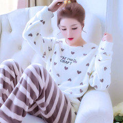 Flannel pajamas in autumn and winter, home furnishing suit, cartoon lady printing, cute long sleeve head coral velvet Don't buy it now. It's killing in the rush season T coffee love