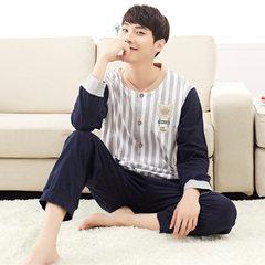 Men's pajamas, long sleeves, pure cotton, spring and autumn cartoon, young men's all cotton home suit plus fertilizer XL Trumpet M (150\90 Jin) Korean bar