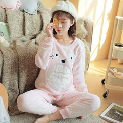 Flannel pajamas, women's winter, long sleeves, coral velvet, Korean Edition, big size cartoon, lovely students' home suit Female: L [95-110 Jin] Light yellow