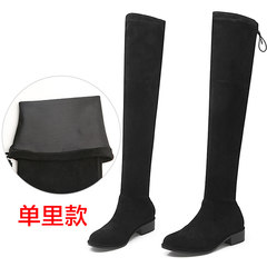 Elastic knee boots boots boots boots single spring and autumn shoes 2017 new high boots boots Flat Boots children Thirty-eight After black.