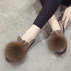 In the autumn of 2017 new fox wool shoes comfortable flat Plush Korean all-match antiskid shoes shoes tide Doug shallow mouth Thirty-eight Khaki thickening