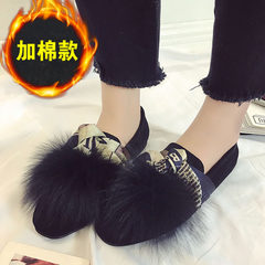 In the autumn of 2017 new students Korean shoes in winter a British all-match Doug scoop plush shoes shoes tide Thirty-seven Standard black