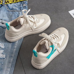 In the autumn of 2017 new Korean ins super fire all-match white shoes leisure shoes soled canvas shoes chic Thirty-eight Rice white / Green