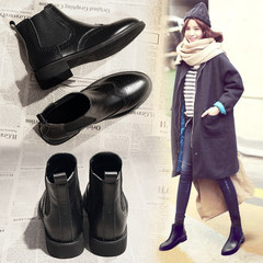 2017 new Chelsea boots female leather boots all-match Korean flat spring and autumn Martin boots thick with autumn Thirty-eight Black (Dan Li)