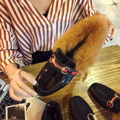 In autumn 2017 new tide Maomao shoes female Korean all-match flat women shoes slip on shoes in winter lazy peas Thirty-eight Black patent leather chain