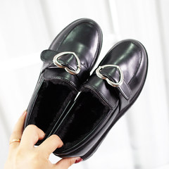 2017 new single shoes with Korean all-match cashmere shoes England autumn loafer shoes a student Harajuku Thirty-eight Black love (warm and velvet)