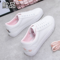 2017 autumn and winter all-match Tuo new white shoe shoes leisure shoes Korean female student flat white shoes Thirty-eight White pink